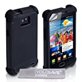 Custodia Samsung Galaxy S2 i9100 Nero Combo Presa Doppia Silicone Caso Con Schermo Pellicola Protezionedi Yousave Accessories