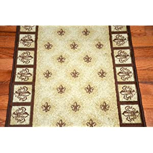 "Amazon.com: Beige Fleur-De-Lys Carpet Runner Rug 31""W - Purchase By"