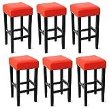 WOLTU-BH22rt-6-Barhocker-Holz-Kunstleder-ohne-Lehne-6er-Set-robustes-Massivholz-Antirutschgummi-pflegeleichter-Kunstleder-gut-gepolsterte-Sitzflche-Rot