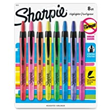 Sharpie Accent Pen-Style Retractable Highlighters, 8 Colored Highlighters (28101)