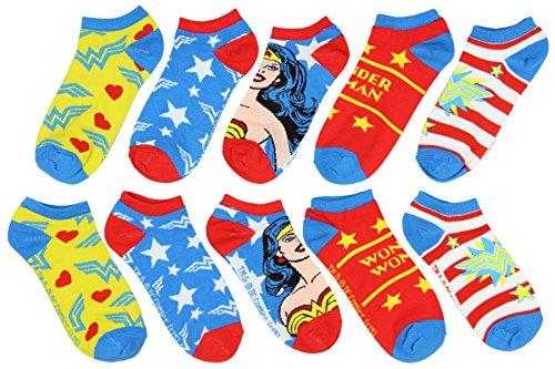 DC Comics Wonder Woman Classic Designs No-Show Socks 5 Pair