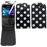 Samrick Polka Dots Specially Designed Leather Flip Case, Screen Protector, Microfibre Cloth and White High Capacitive Stylus Pen for Blackberry 9790 Bold - Black/White