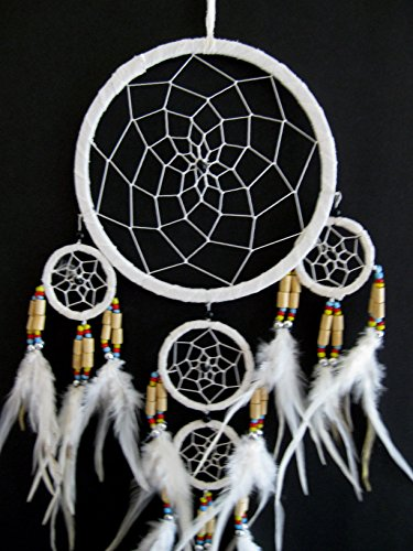 """Dream Catcher Traditional SUEDE White Color With Feathers & Beads, 7"""" Diameter & 25"""" Long - OMA® BRAND"""