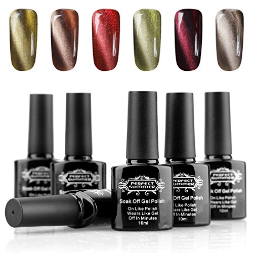 Perfect-Summer-3D-Magnetic-Gel-Nail-Polish-Charming-Cat-Eye-Effect-UVLED-Light-Soak-Off-10ml-Nail-Lacquers-French-Salon-Manicure-Mood-Changing-Nail-Varnish-6-PCS-Starter-Kits