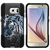 Galaxy S6 Case, Dual Layer Shell STRIKE Impact Kickstand Case with Unique Graphic Images for Samsung Galaxy S6 VI SM-G920 (T Mobile, Sprint, AT&T, US Cellular, Verizon) from MINITURTLE | Includes Clear Screen Protector and Stylus Pen - White Tiger