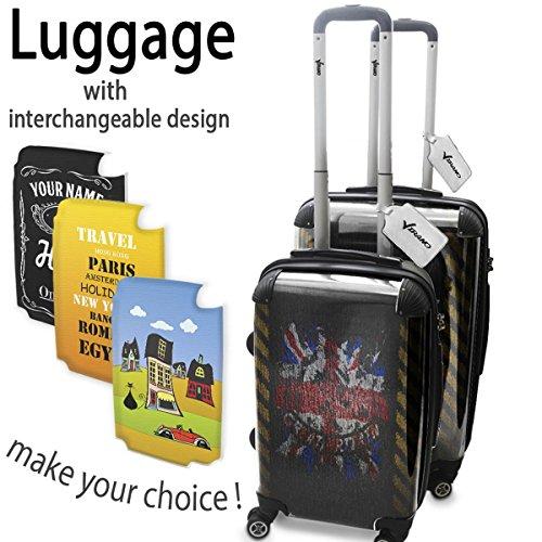 Bandiere Firmata Union Jack, Set da 2 Luggage Valigia Bagaglio Ultraleggero Trasportabile Rigido 4 Route Adatto con Disegno Colorato. Dimensione: Formato Cabina S, M