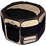 Pet Gear Travel Lite Octagon Pet Pen with Removable Top for Cats and Dogs up to 90-Pounds, 46-Inch, Sahara