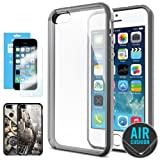 SPIGEN iPhone 5S Case Bumper **NEW Release** [Ultra Hybrid] [Gray] FREE Screen Protector + 2 FREE Design Graphics Included Bumper with CLEAR Back Panel for iPhone 5S / 5 – ECO-Friendly Packaging – Gray (SGP10516)