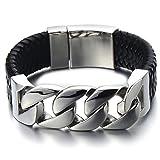 Einzigartiges Geflochtenes Leder-Armband Panzerkette Armband...