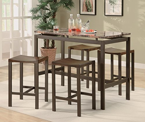 coaster-atlus-counter-height-contemporary-brown-metal-table-with-marble-look-top-and-4-stools