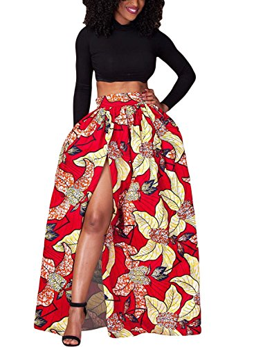 Lovezesent Women's African Floral Printed High Split Maxi Skirt Large Red (Long Split Maxi Skirt compare prices)