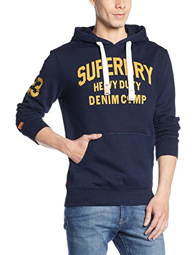 SUPERDRY Heavy Duty Real Indigo Hood, Felpa Uomo, Nebular Indigozza, S