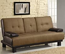 Big Sale Coaster Futon Sofa Bed with Drop Down Console in Two Tone Finish