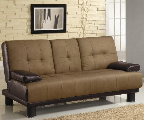 coaster-futon-sofa-bed-with-drop-down-console-in-two-tone-finish