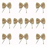 Burlap Flowers - Bows for Crafts, Home and Wedding Decoration, 10 Pcs - by Beaulegan