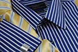 Collar and Cuffs London - High Quality 100% Cotton - Fit Guaranteed - Stratford Navy Blue with White Stripe - Twill Weave - Men's Shirt - Long Sleeve - Slim Fit, Double Cuff - Striped Pattern