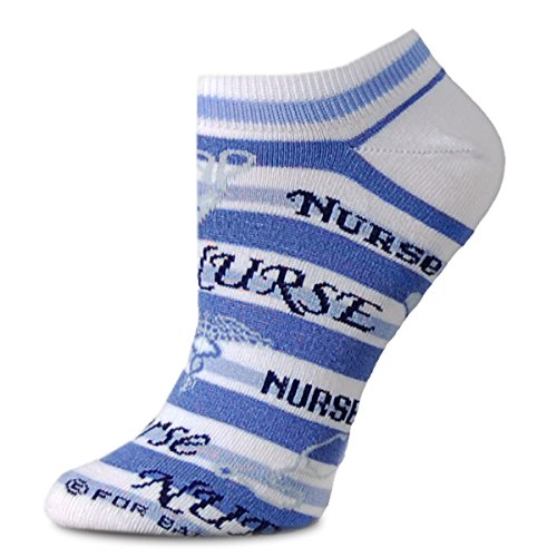 Nurse Fashion Stripes No Show Ankle Socks Blue and White Medium For Bare Feet Adult Socks - 1