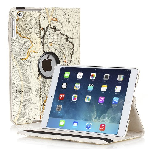 TNP Apple iPad Air Case (iPad 5th Gen, 2013 Model) Tablet - 360 Degree Rotating Stand PU Leather Smart Cover Case with Built-in Magnet for Auto Sleep & Wake Feature & Stylus Holder, Map Design Beige (Unlock Iphone 1 compare prices)