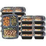 Pakkon 3 Compartment Bento Box / Durable Plastic Lunch Container with Airtight Lid  Use For 21 Day Fix, Meal Prep and Portion Control  Lunch Box For Kids and Adults [10 pack]