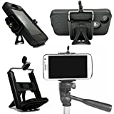 Cell Phone Tripod Adapter Mount and Desk Stand Holder for iPhone 6 Plus 5S 5C 5 4S 4 Samsung Galaxy S5 S4 S3 S2 and more (Black) by DaVoice