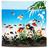 綿風呂敷 涼彩金魚ロイヤルブルー 約50×50cm 60750925