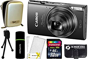 Canon PowerShot ELPH 360 HS 20.2MP 12x Zoom Full-HD 1080p Wi-Fi Digital Camera (Black) + 32GB Card + Reader + Case + Accessory Bundle