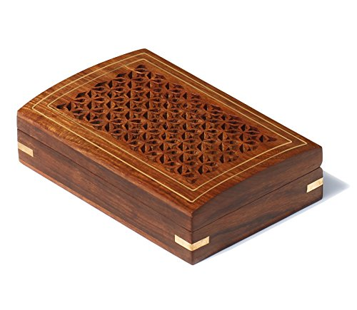 SouvNear Wood Keepsake Box / Trinket / Jewelry Box / Treasure Chest ''Jaali and Brass Work'' - Decorative Handmade Gifts