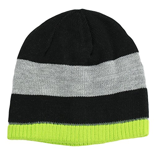 Nolan Boys Striped Beanie Hat Reversible Winter Hat Black / Lime Size 4-14 (Guantes De Football compare prices)
