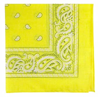 Bandanas by the Dozen (12 units per pack, 100% cotton) (Dozen-Yellow Paisley)