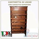 3legno Cantinetta Legno 30 Posti Con Schienale E Cassetto Superiore Porta Bottiglie Vino