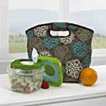 Capetown Insulated Lunch Bag with Salad Shaker (Teal Floral)