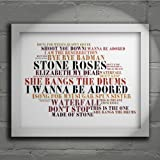 The Stone Roses - First Album - Signed & Numbered Limited Edition Typography Unframed 10x8 Inch Album Wall Art Print - Song Lyrics Mini Poster