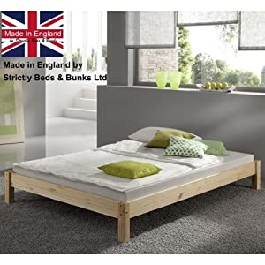 Small Double Pine Bed 4ft (130cm) Studio Double Bed Wooden Frame with extra wide base slats and centre rail - VERY STRONG by Strictlybedsandbunks