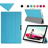 Sony Xperia Z2 10.1-inch Case Cover, Fyy® Ultra Slim Magnetic Smart Cover Case for Sony Xperia Z2 10.1-inch Cyan (With Auto Wake/Sleep Feature)