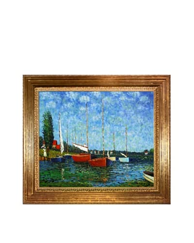 Claude Monet's Red Boats At Argenteuil Framed Hand Painted Oil On Canvas