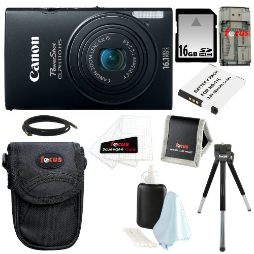 Canon PowerShot ELPH 110 HS 16.1 MP CMOS Digital Camera with 5x Optical Image Stabilized Zoom 24mm Wide-Angle Lens and 1080p Full HD Video Recording (Black) with 16GB Deluxe Focus Accessory Bundle
