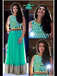 Shree Ganesh Women's Designer Multi-Coloured Nett Semi-Stitched Lahenga Choli [L80aqumarine_Multi-Coloured]