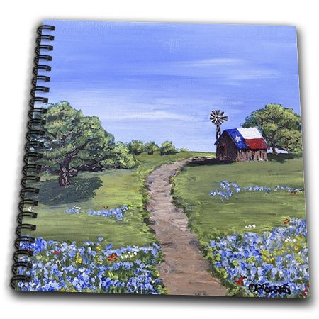 Melissa A. Torres Texas Art - Dirt Road Leading To Old Texas Barn - Drawing Book - Drawing Book 8 X 8 Inch (Db_200817_1)
