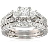 Kobelli 1-1/8 cttw Princess and Round Diamond 14k Gold Wedding Ring Set