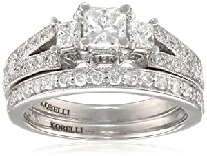 Kobelli 1-1/8 cttw Princess and Round Diamond 14k Gold Wedding Ring Set, Size 4