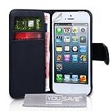 """iPhone 5 Real Original Echt Leder Brieftasche Tasche - Schwarzvon """"Yousave Accessories�"""""""