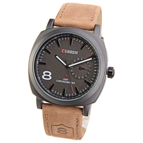 Mudder Curren 8139 Chronometer Quarz modisch modern Armbanduhr mit Lederband