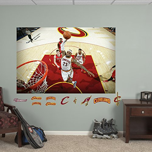 NBA Cleveland Cavaliers LeBron James Dunk Mural Fathead Real Big Decals, 72