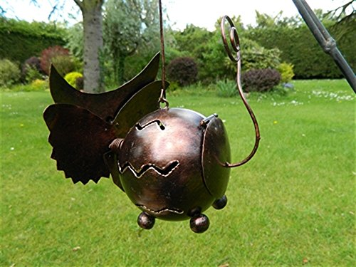 Owl Tea light Candle Holder Metal Hanging Garden Lantern - Brown Owl Tealight