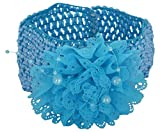 Ice Dragon Blue Fabric Hair Band for Children (blue-flo-1-headband)