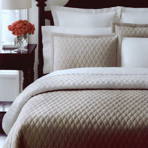 Martha Stewart Collection Solid Diamond Khaki Full/queen Quilt Bedding