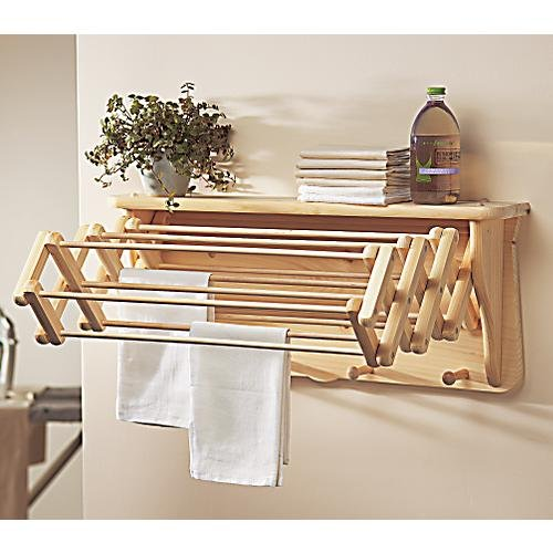 Gaiam Natural Laundry Drying Rack Wall Shelf Extends to 22B0000TR5MW