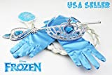 Disney Frozen Elsa Tiara Crown Wig Wand & Blue Gloves Set of 4 Cosplay Accessories