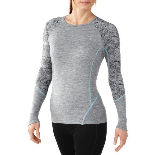 Smartwool Nts Light 195 Women'S Printed Crew Top - Small - Grey