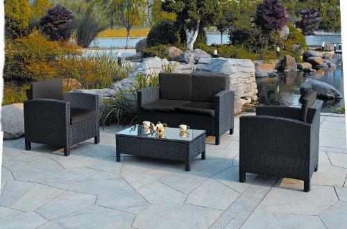 Amalfi 4 Piece Rattan Lounge Set Black W Sofa